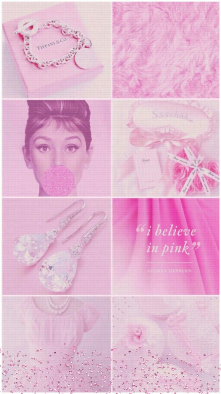 Pin By Nikkladesigns On Tiffany Audrey Hepburn Wallpaper Collage Wallpapers Pink Wallpaper