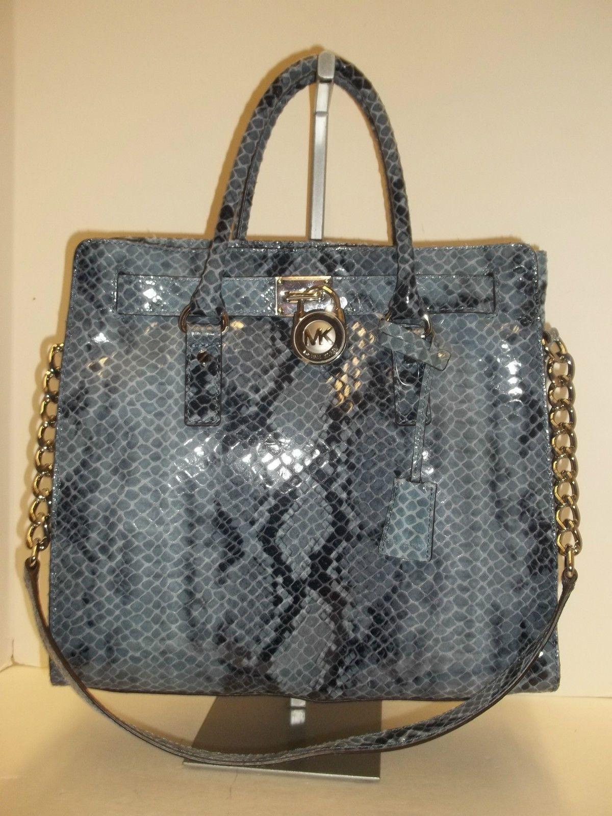Michael Kors Denim Python Embossed Leather Large N S Hamilton Tote Handbag Ebay