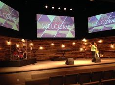 Re-purposed Wood Pallets for Church Worship Stage