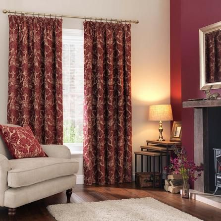 Dunelm Heritage Bird Print Red Pencil Pleat Curtains ...