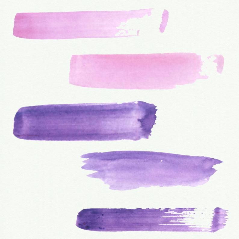 Watercolor Splash Clipart Purple Watercolor Brush Strokes
