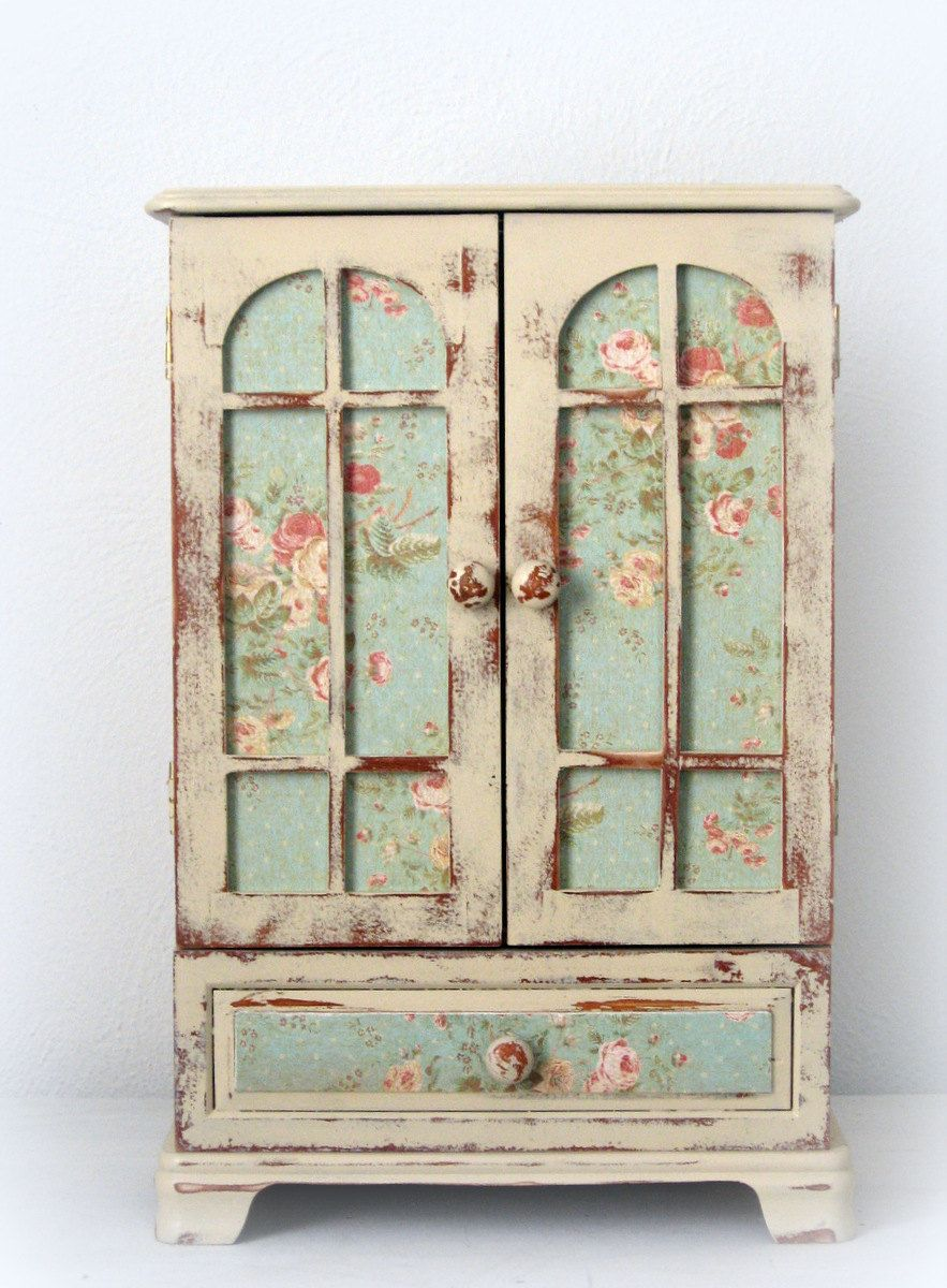Huge Shabby Chic Jewelry Box Dresser Armoire French Monogrammed OOAK ...