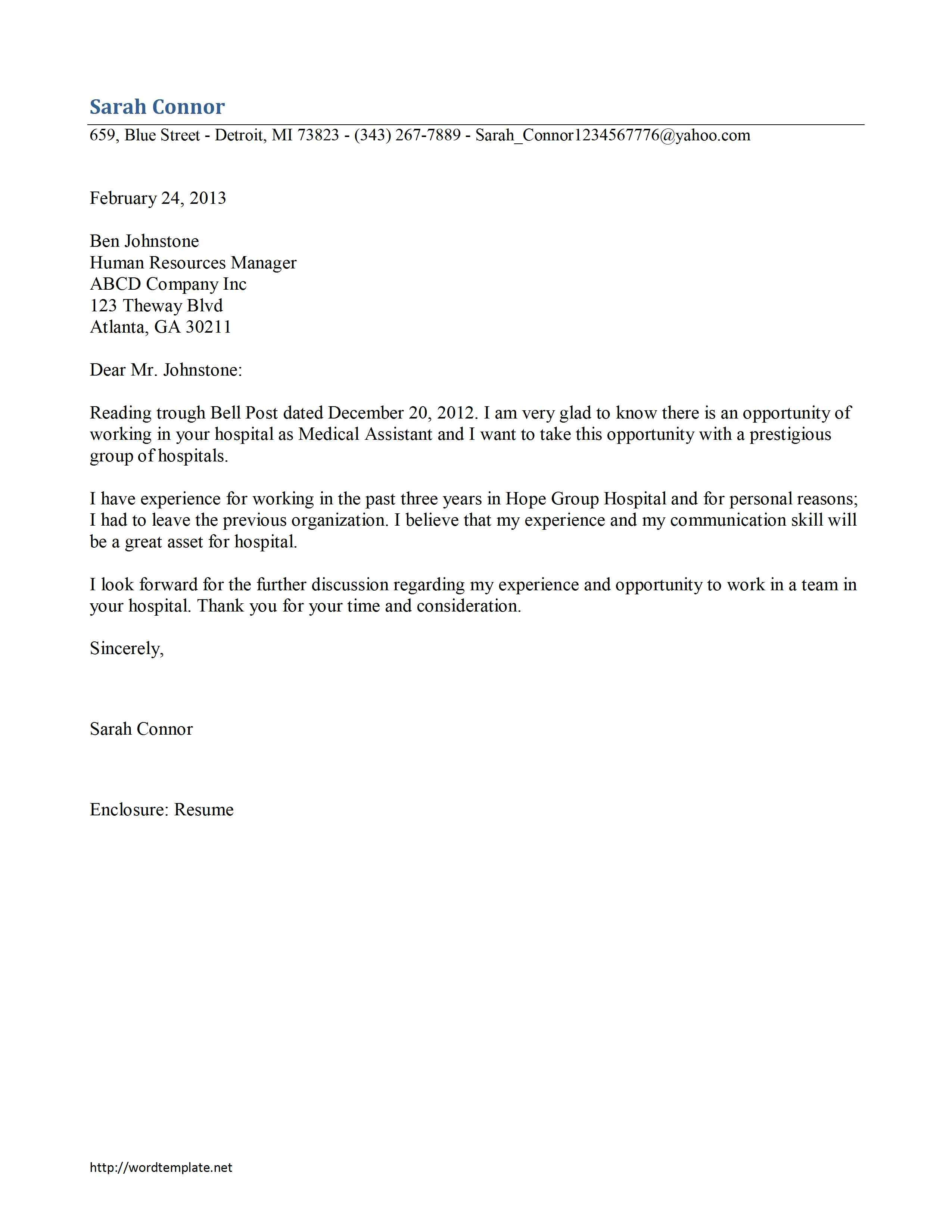 Medical Assistant Cover Letter Samples Stark Houseofstrauss Co