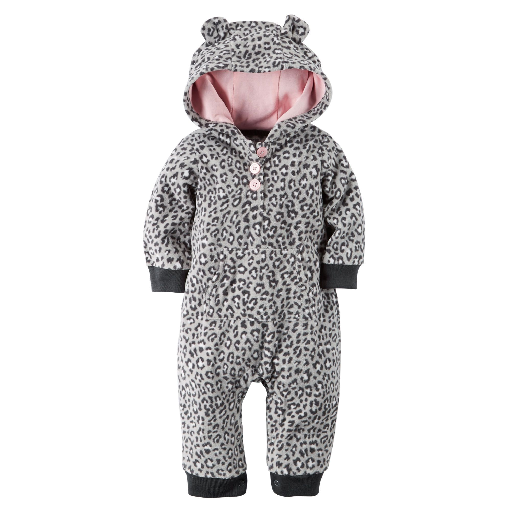 a95c3dded0 Baby Girl Hooded Fleece Jumpsuit