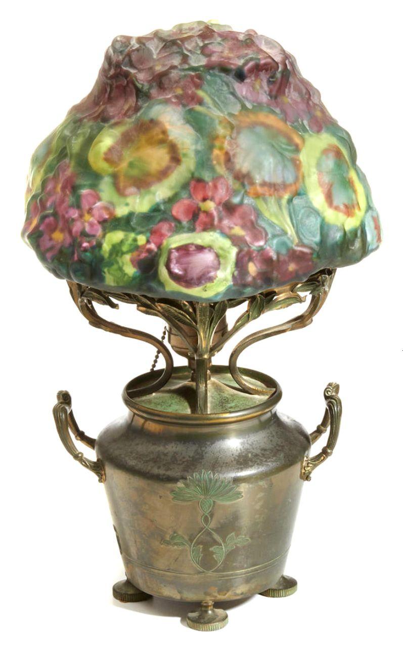 Rare Pairpoint Geranium Puffy Table Lamp Bonham S Lot