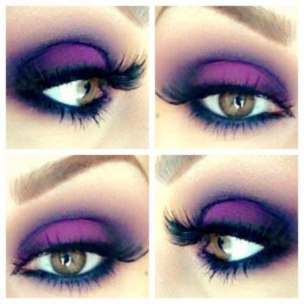 Halloween Witch Make Up Ideas Purple Black Eye Shadows Witch