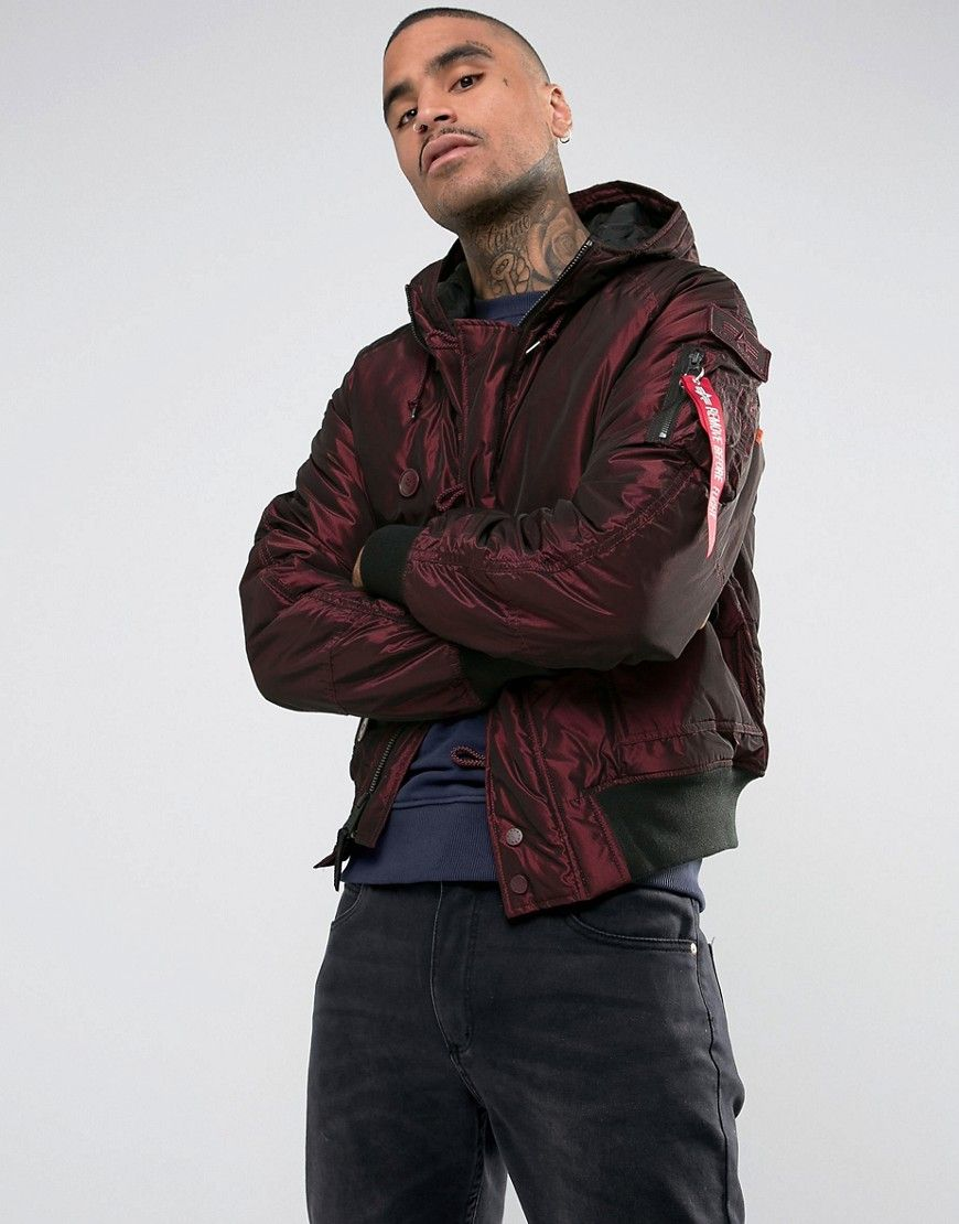 9c0662a2809 ALPHA INDUSTRIES HUNTER 2 HOODED BOMBER JACKET IN IRIDIUM BURGUNDY - RED.   alphaindustries  cloth