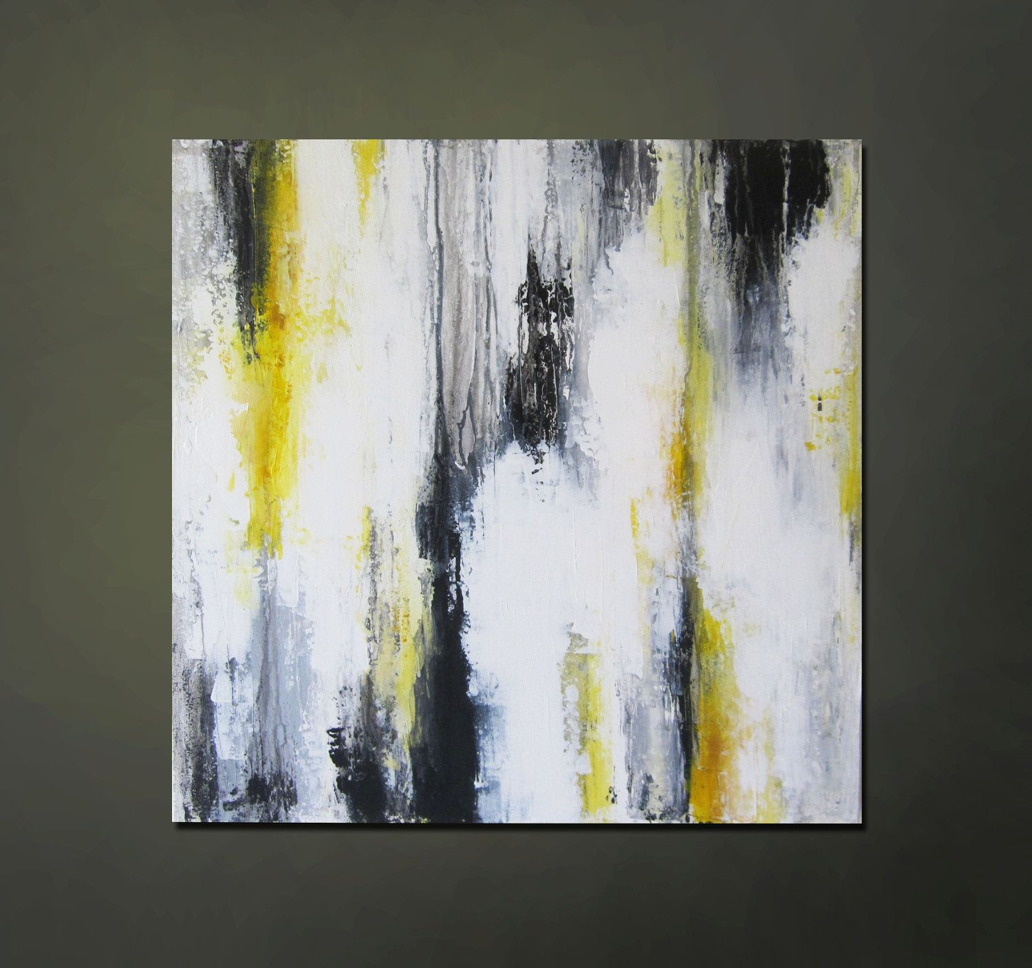 Modern Contemporary Abstract Yellow Gray Black White Painting