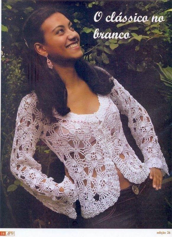 Chaqueta Crochet con Flores de Treboles Patron - Patrones Crochet ...