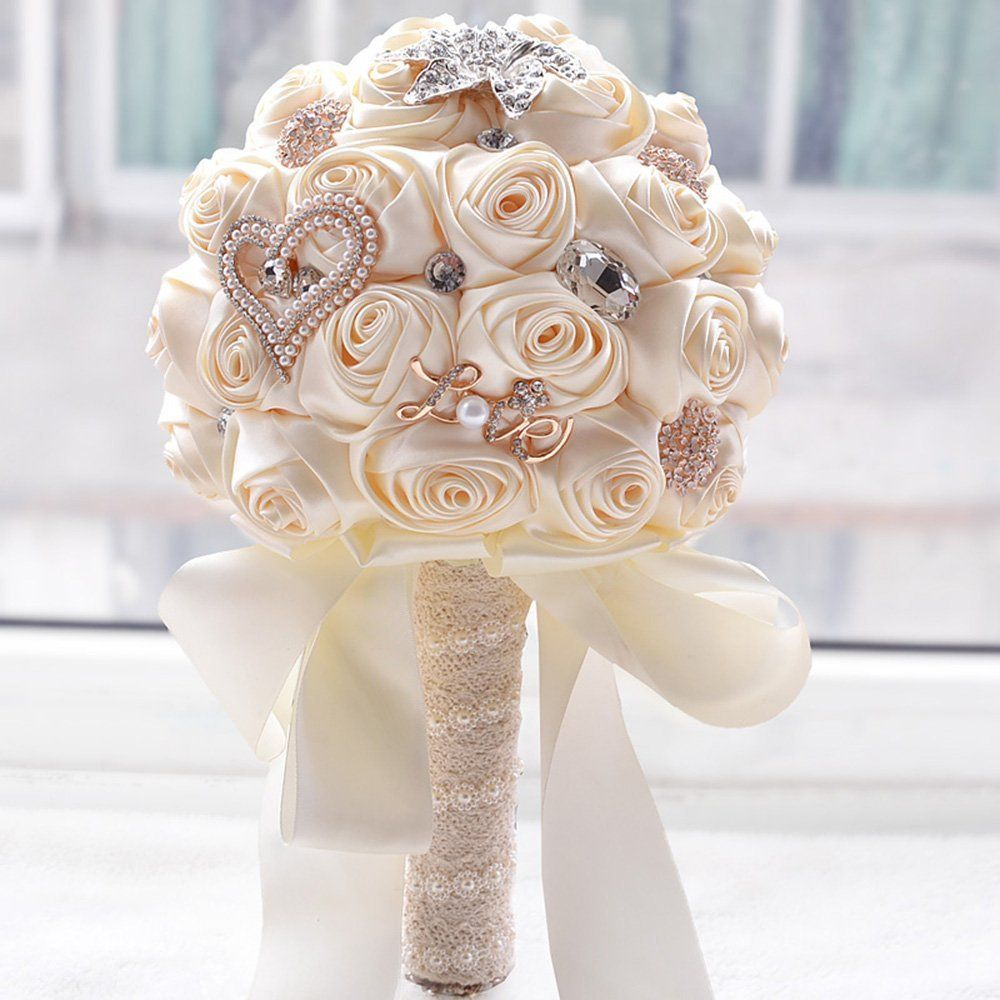 amazon - new artificial white silk rose wedding flowers