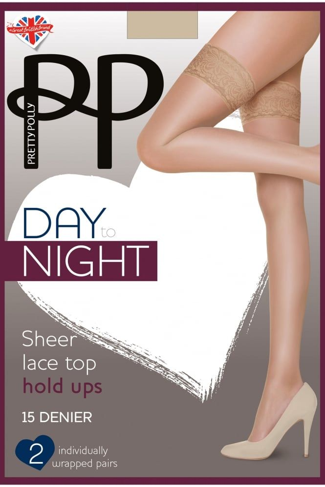 Pretty Polly One Size Soft Shine 15 Denier Lace Top Hold Ups Stockings