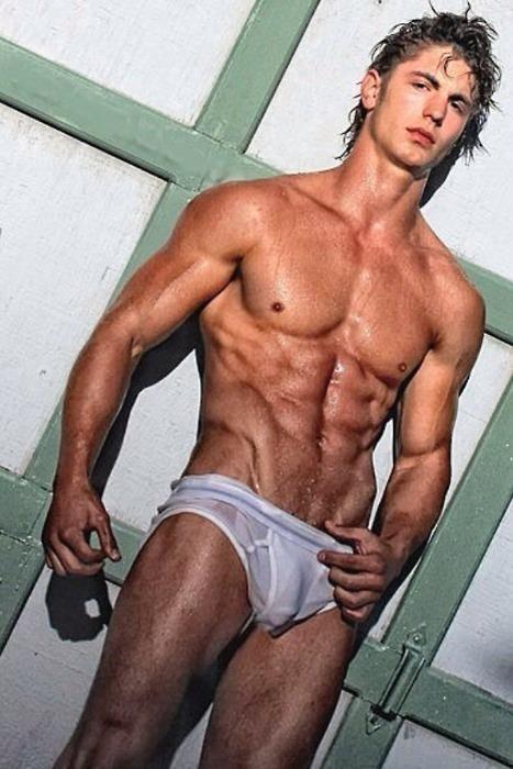 Gay in wet underwear