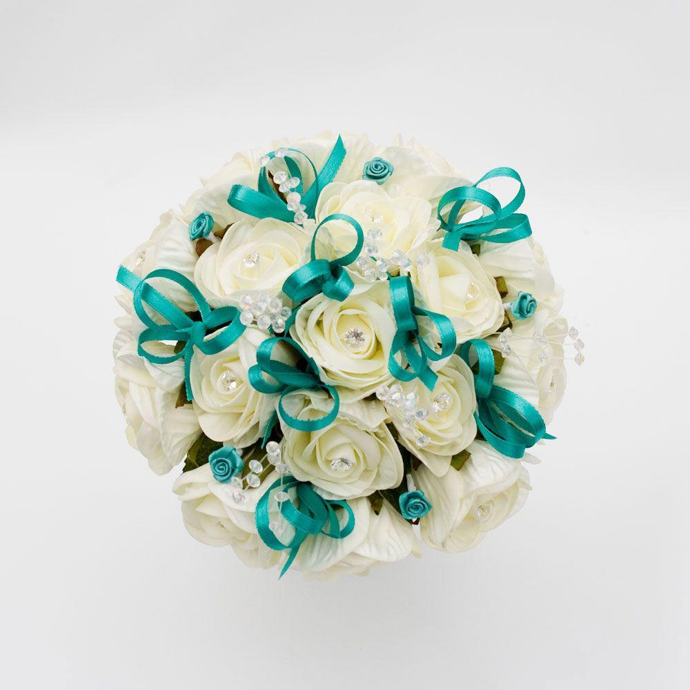 Бело бирюзовый свадебный букет из живых цветов, бабушке