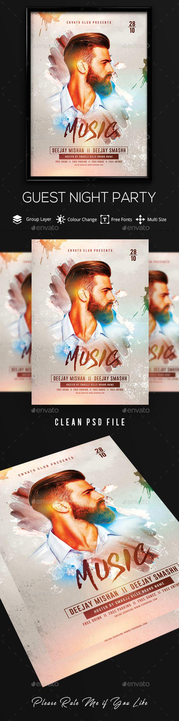 Guest Dj Artist Flyer Fully Editable Flyer Template Flyer