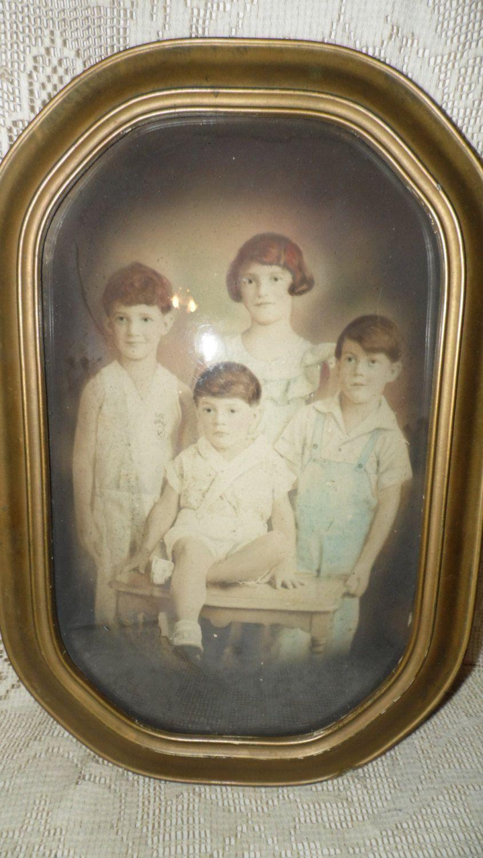 Antique children photo picture bubble convex glass gold wood frame antique children photo picture bubble convex glass gold wood frame by fabulousfinds1 on etsy jeuxipadfo Images