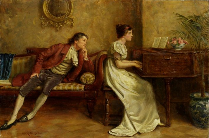 Piano By George Goodwinkilburne Romantic Paintings Piano Art Romantic Art