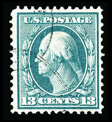 United Sates 1908-15 Washington Franklin Issue 1909 13c blue green, neat cancellation, well centered, bright color, v.f., scarce used, with 2000 PFC, (Catalog value $ 4,000)
