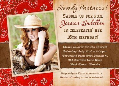 Country Teen Birthday Invitations Western Photo Red Cowgirl – Wild West Birthday Invitations
