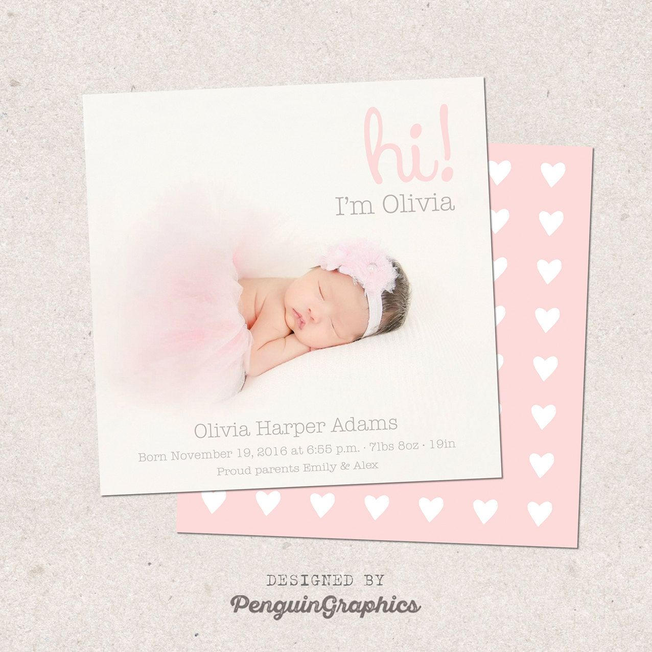 Birth announcement card Personalized baby girl birth card Custom – Baby Announcement Cards Etsy