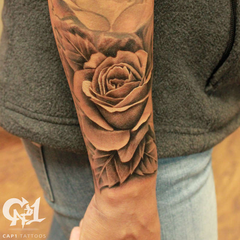 76f194a54 Capone - Realistic rosebud and free flowing leaves | tattoos | Rose ...