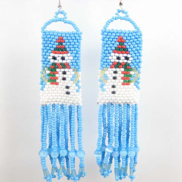 Turquoise White Snowman Beaded Earrings