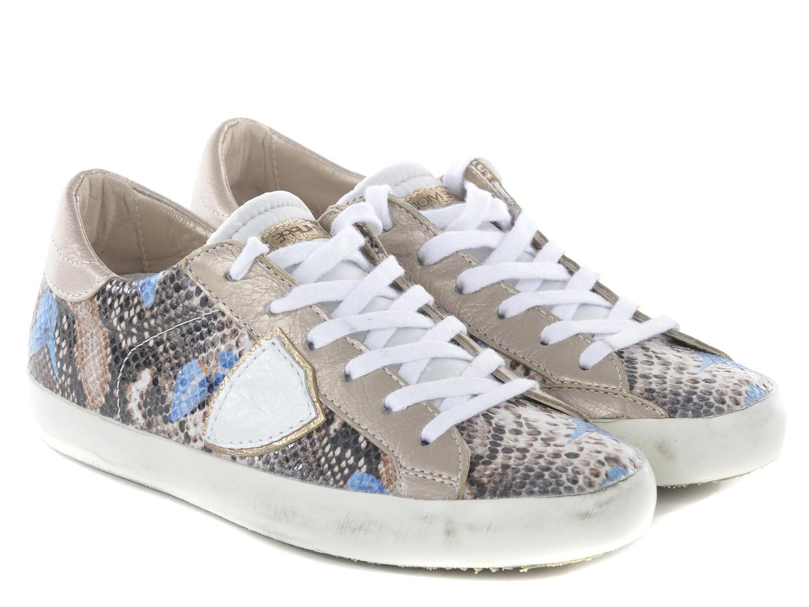 Philippe Model women sneakers in beige python print - Italian Boutique €169