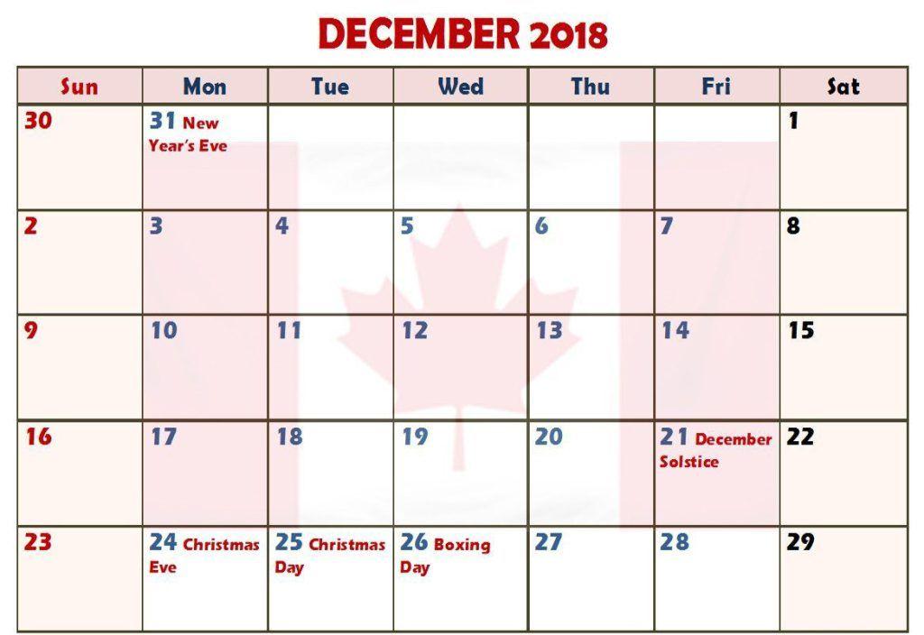December 2018 Calendar With Holidays Canada Holiday Calendar