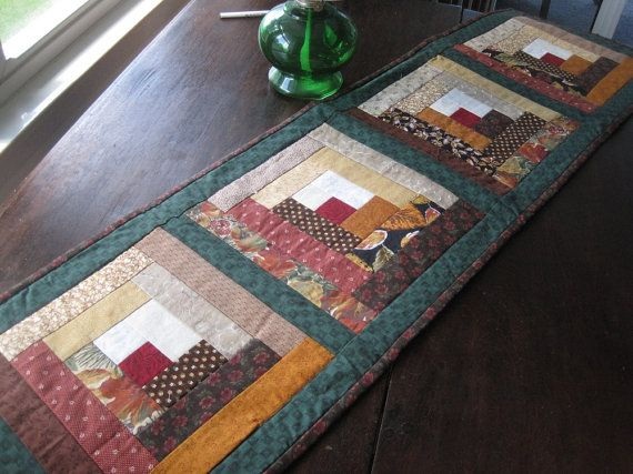 Quilted Log Cabin table runner 14x50 inches by BudgiefluffSews, $30.00 | Quilted table runners