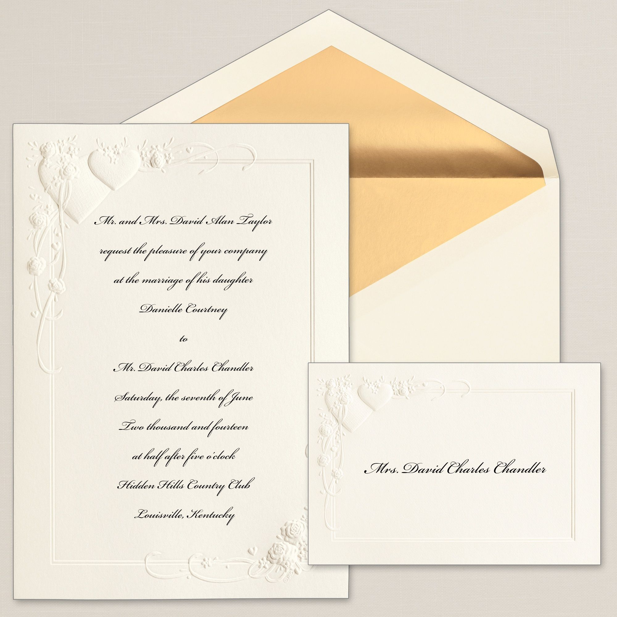 Floral Wedding Hearts And Flowers Invitation