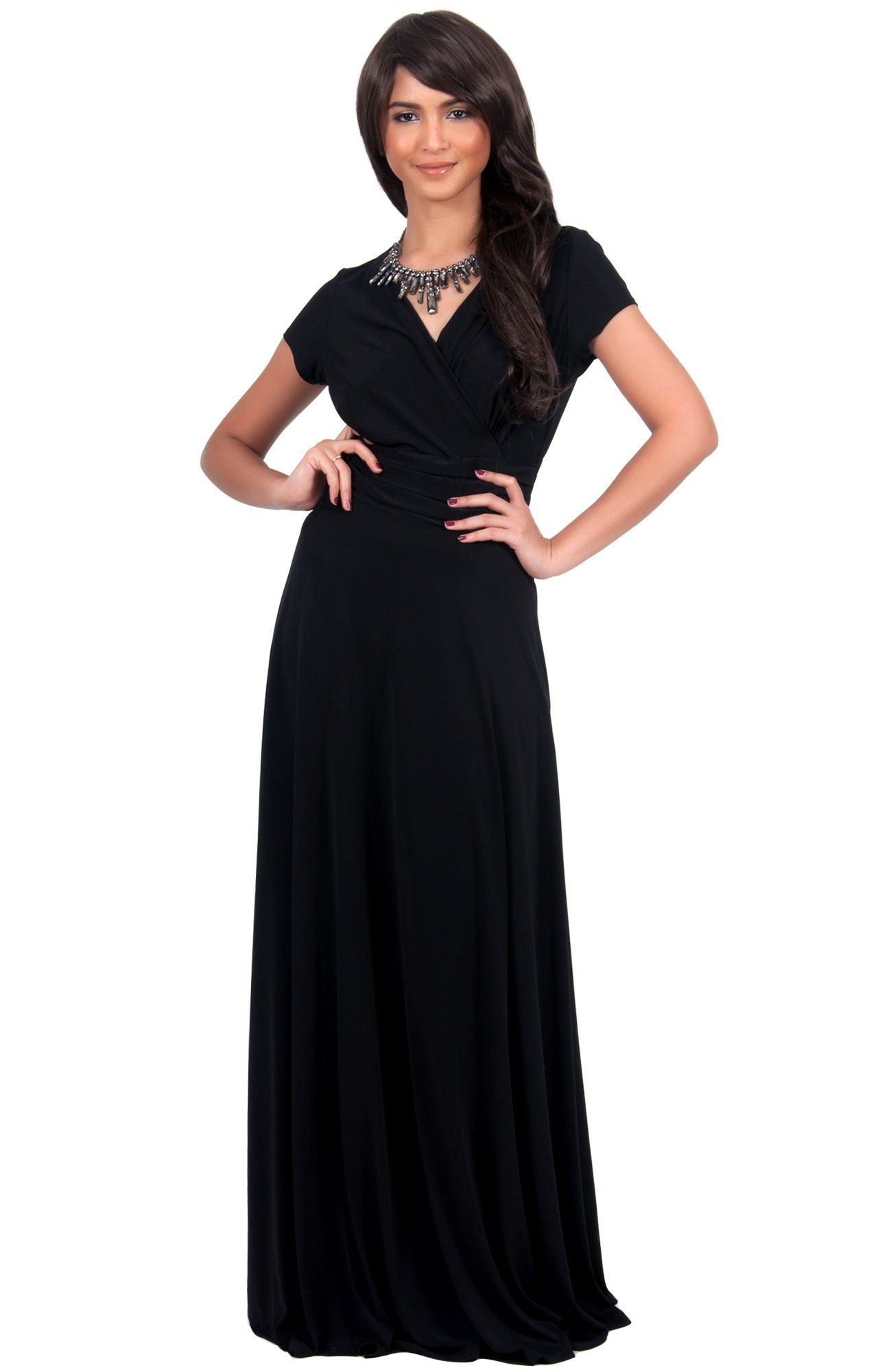 0ae9c06028 Koh Koh Women s Elegant Cap Sleeve Chest Crossover Cocktail Long Maxi Dress  - Large - Black