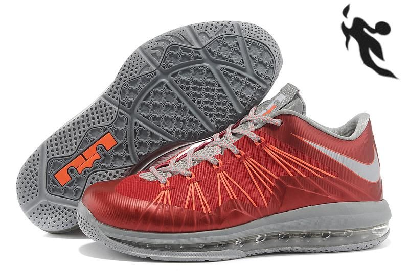 798e00f873f Sale Nike Air Max Lebron 10 Low Red Gray Orange   Fashion   Nike ...