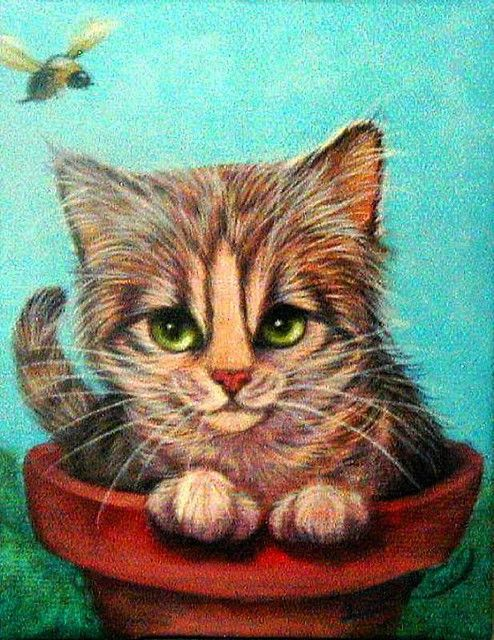 a potted tabby Cat Gatos and Cat lovers