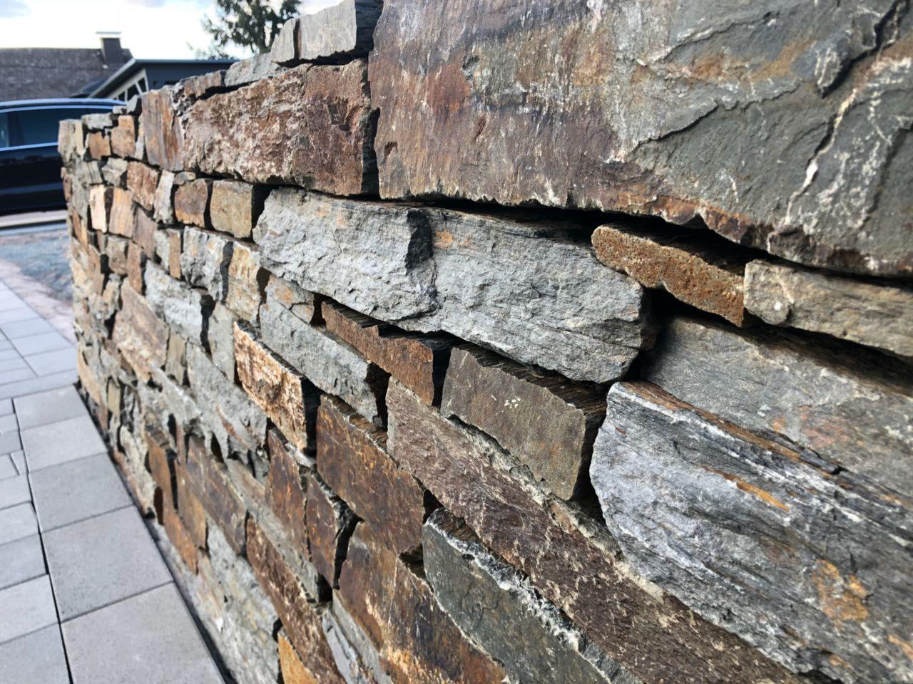Garten Terrasse Aussengestaltung Mauer Trockenmauer Verkleiden Gestalten Gartengestaltung Naturstein Trockenmauer Natursteine Aussengestaltung