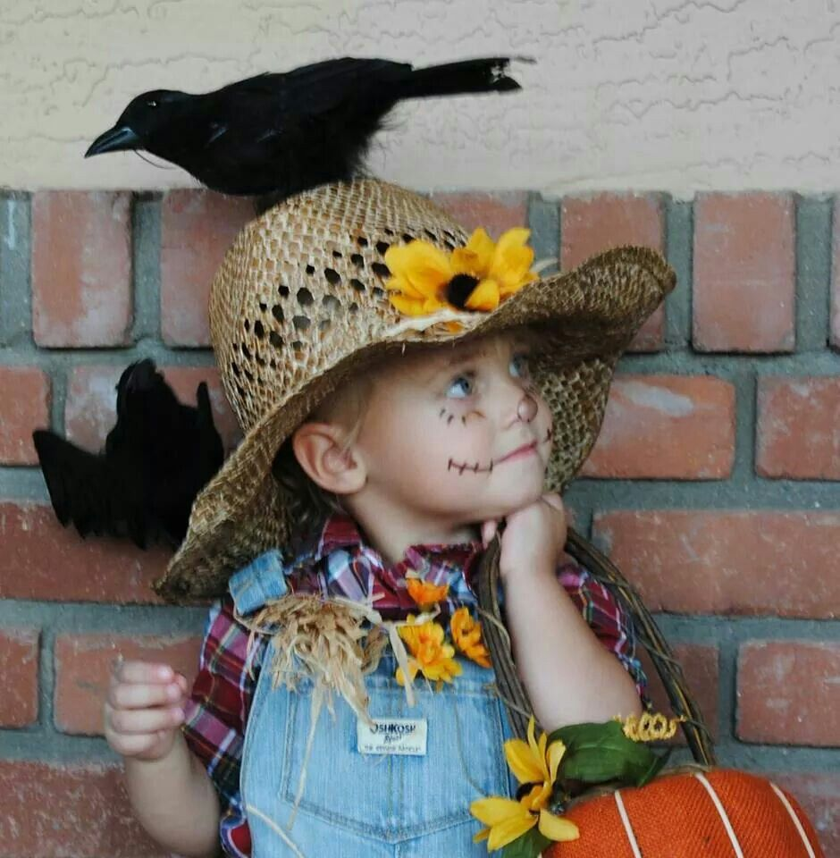 Our sweet little scarecrow.  Quick and easy costume.