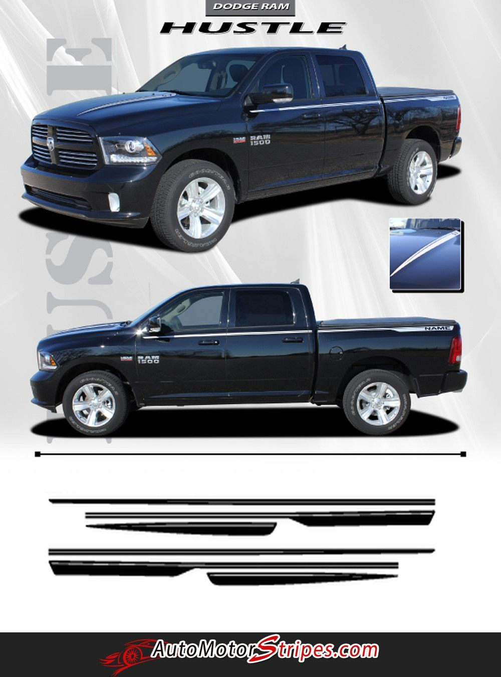 Dodge Ram Power Truck Hood And Rear Side Strobes Truck - Custom vinyl decals for car hoodsfull color graphic vinyl sticker decal skull ghost fit car hood