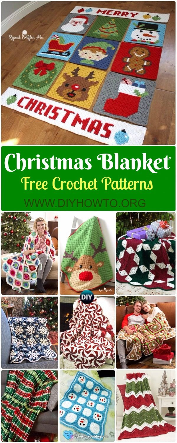 Crochet Christmas Blanket Free Patterns & Tutorials: Crochet Holiday ...