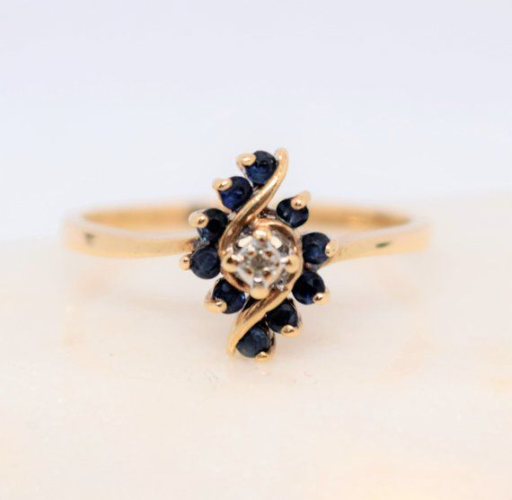 Vintage Sapphire Diamond Ring Size 8 10k Yellow Gold Gemstone Ring Blue Sapphire September Birthstone Ring Fine Jewelry Gift For Her Blue Topaz Ring Gold Sapphire Ring Diamond Sizes