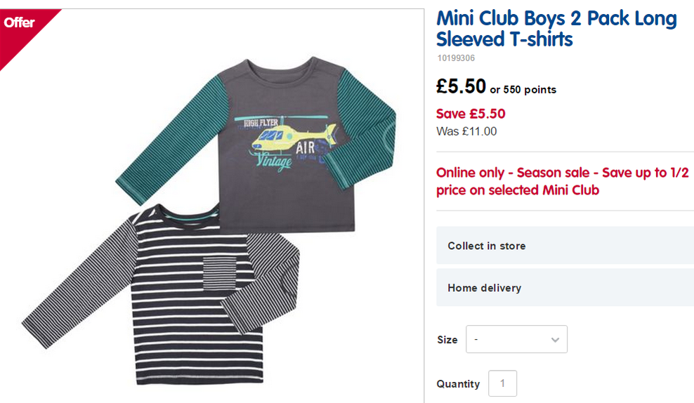 34c494ca9e8f Mini Club Boys 2 Pack Long Sleeved T-shirts was £11 NOW £5.50 at Boots