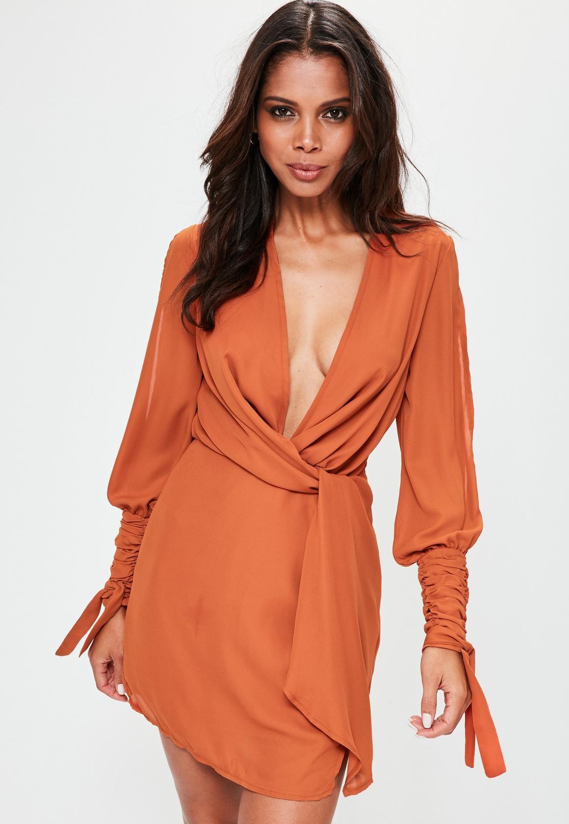 850e64e66636c Missguided - Orange Slit Sleeve Knot Front Wrap Dress