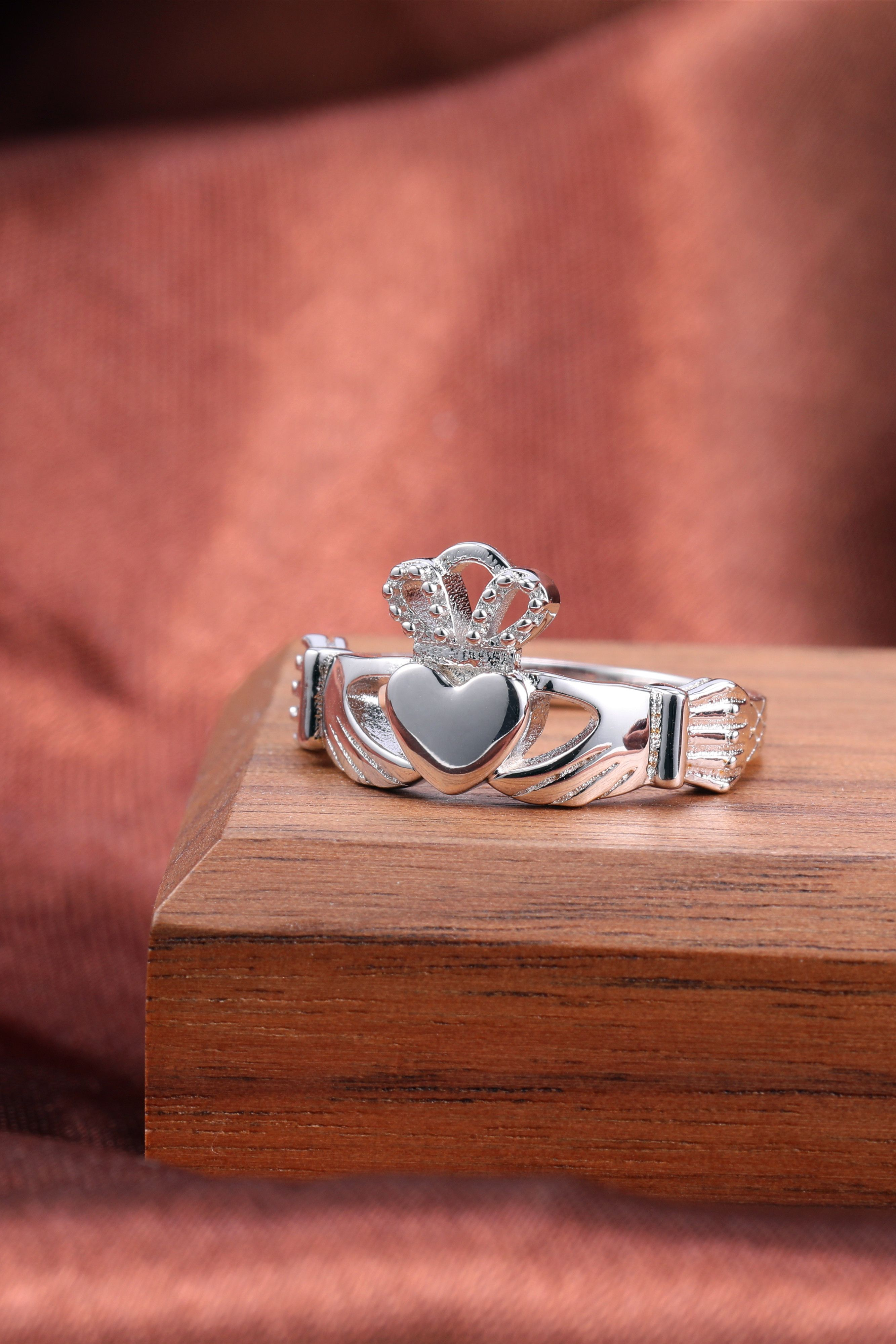 Claddagh Engagement Ring Celtic Knot Crown Stainless Steel
