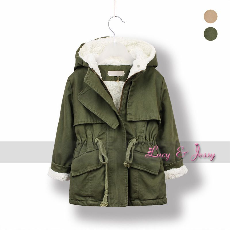 Berber Fleece LiningTrench Coat Hooded For Toddler Baby Girls ...