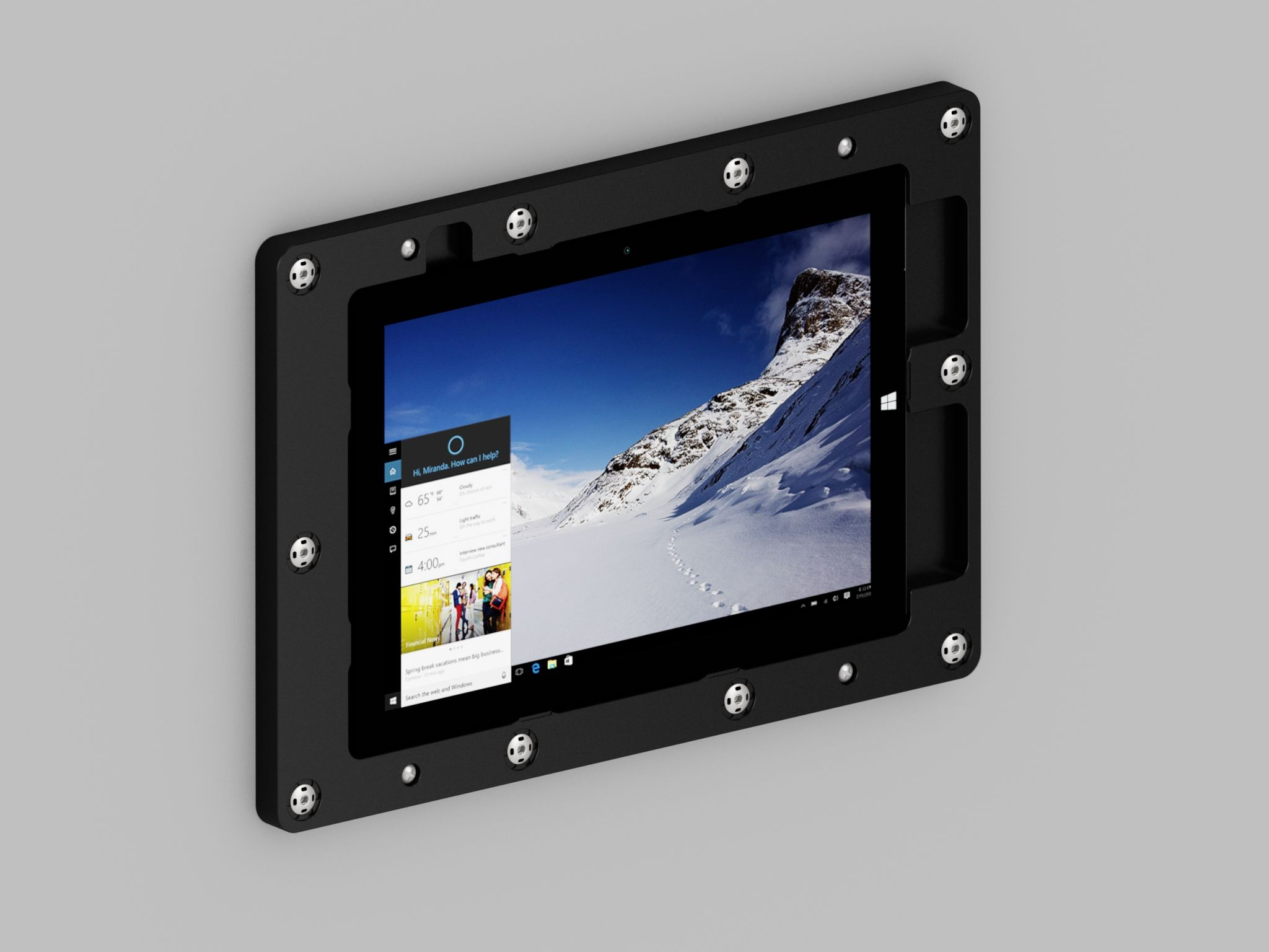 The Usb Ports Power Button And More On Our Installed Surface 3 On Wall Mount Are Readily Exposed Wall Tablet Tablet Mount Tablet