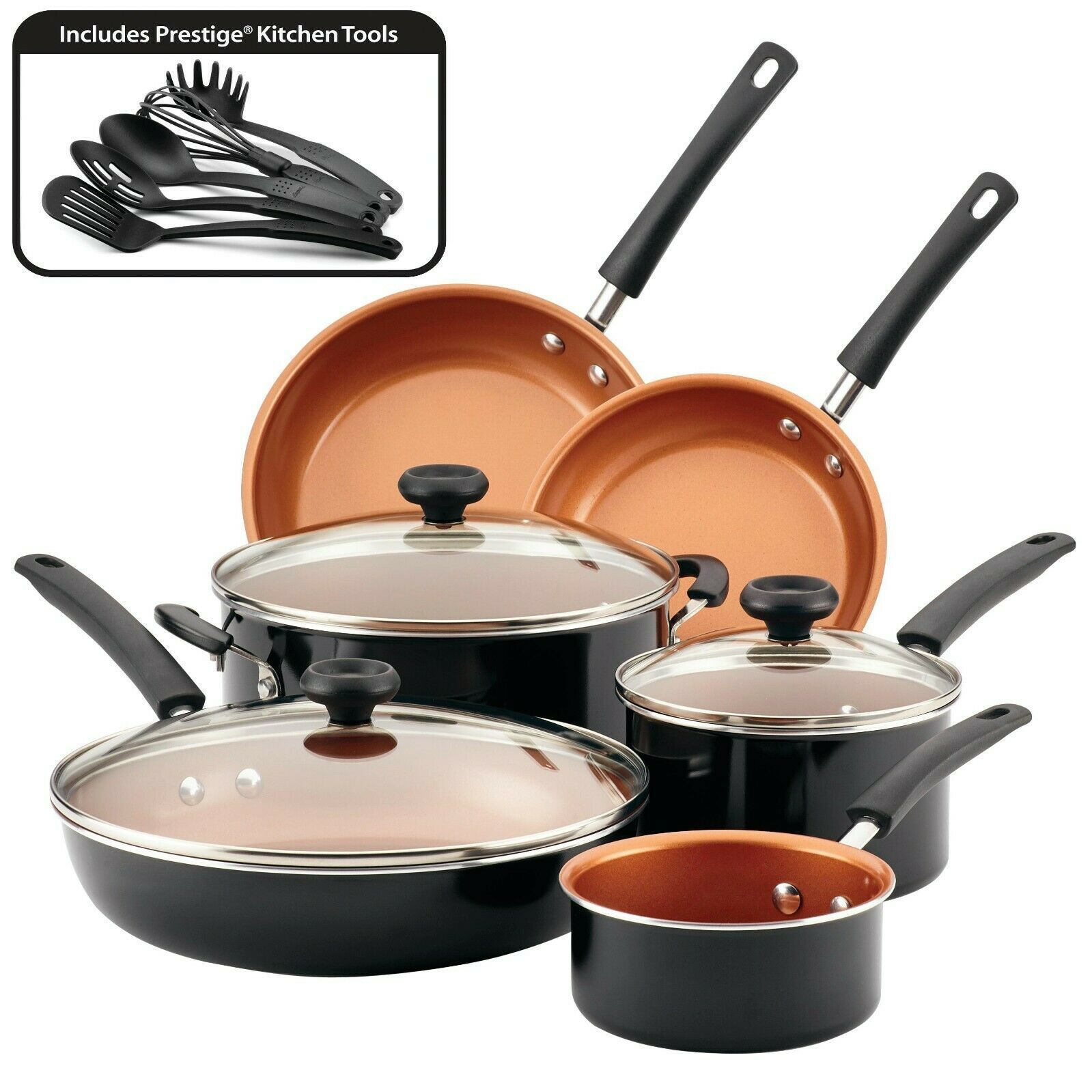 Cookware Set Farberware Ceramic Nonstick Kitchen Pots And Pans