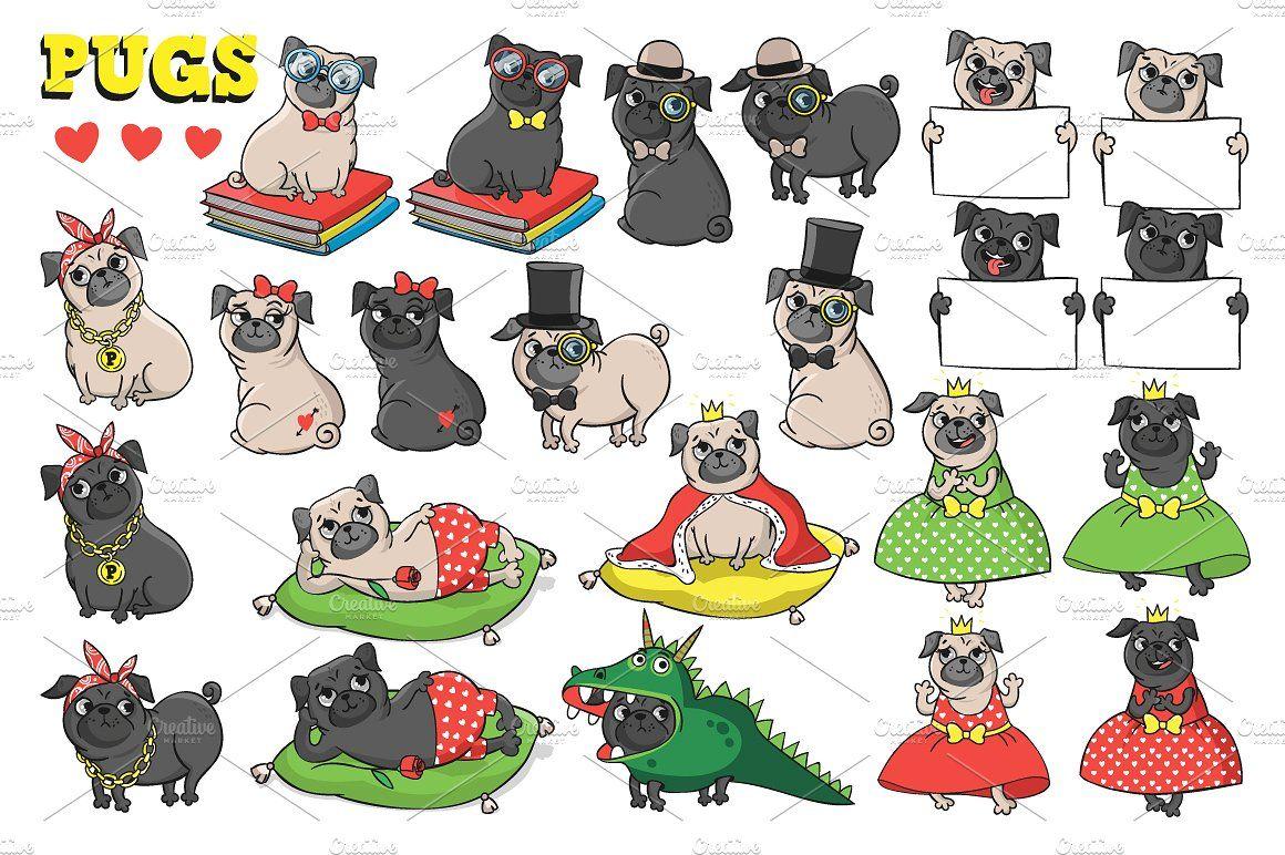 Pugs. Characters. Pugs, Bad dog, Character