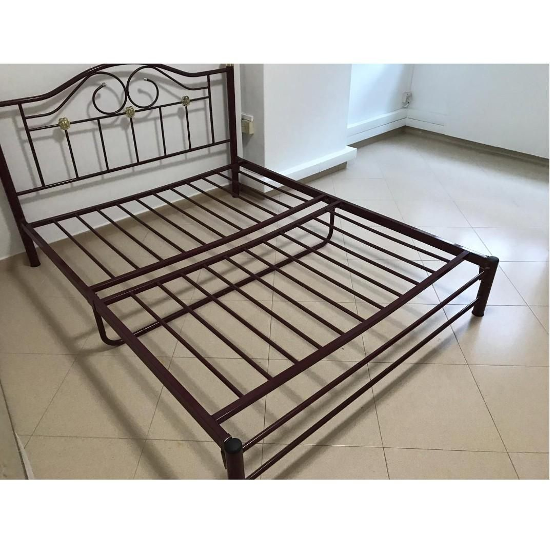 Queen Size Iron Bed Frame Bedframes Furniture Solid Metal Furniture Beds Mattresses On Carousell In 2020 Iron Bed Frame King Metal Bed Frame Iron Bed