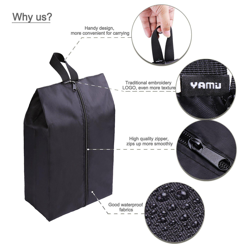 Yamiu Travel Shoe Bags Set Of 4 Waterproof Nylon With Zipper For Men Women Black Clothing