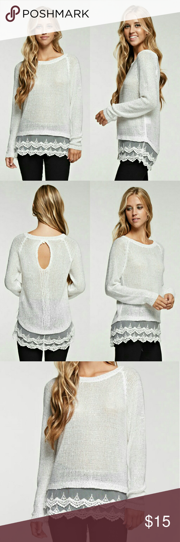 Sparkly white long sleeve Sparkly long sleeve with lacy trim and keyhole back.  70% Polyester 30% Acrylic Tops Blouses