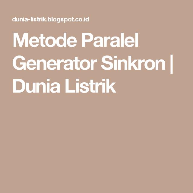 Strange Metode Paralel Generator Sinkron Dunia Listrik Generatormotor Wiring 101 Ziduromitwellnesstrialsorg
