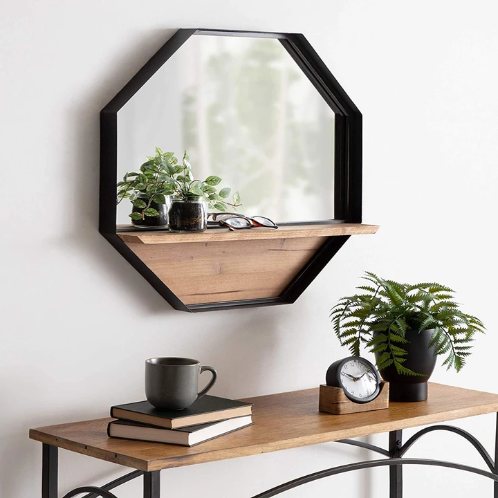 Black Wood Shelf Octagon Wall Mirror in 2020 Rustic