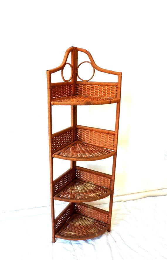 Vintage Tall Corner Shelf 1960s 70s Mid Century Folding Wicker Shelf Wicker Shelf Tall Corner Shelf Corner Shelves